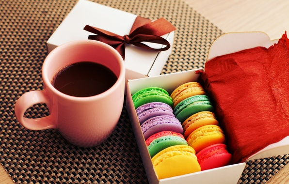 Picture colorful, cookies, dessert, cup, sweet, coffee, dessert, cookies, macaron, macaron, almond