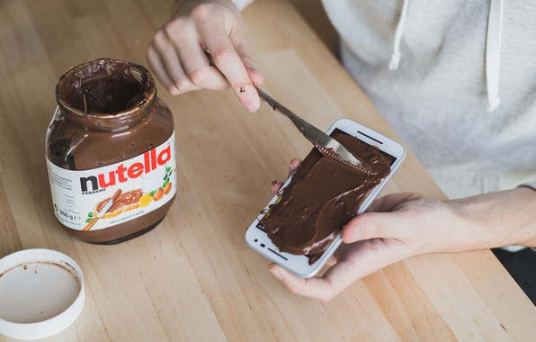 Picture Knife, Table, Hands, Nutella, Phone, Chocolate paste