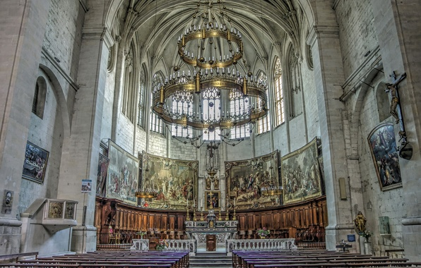 Picture France, Cathedral, temple, architecture, religion, bench, the iconostasis, Rhône-Alpes, Vivier
