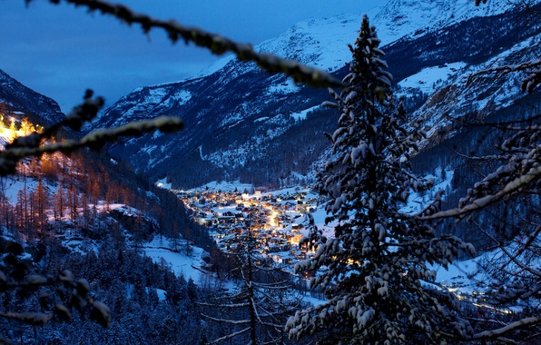 Picture winter, snow, trees, landscape, mountains, nature, the city, view, home, the evening, Switzerland, Alps, panorama, …
