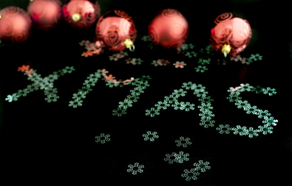 Picture snowflakes, holiday, black, the inscription, balls, new year, Christmas, XMAS