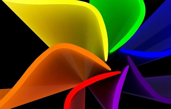 Picture flower, sheet, rainbow, petals, the volume