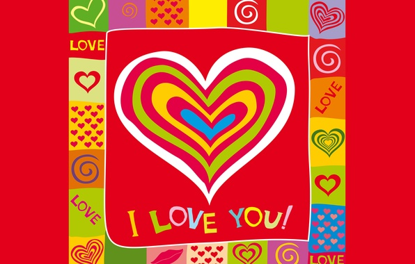 Picture love, colorful, hearts, love, I love you, background, romantic, hearts, sweet