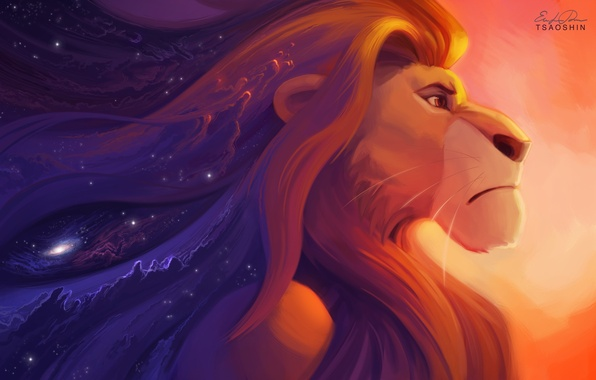 Picture look, stars, cartoon, Leo, art, art, stars, king, Lion King