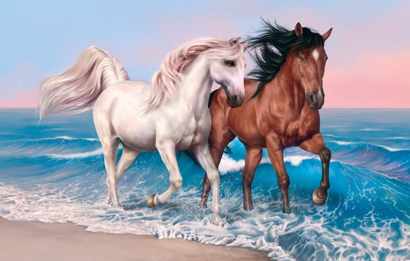 Picture beach, sky, sea, clouds, sand, valentines, painting, hair, horse, mare, suna, kumo, stallion