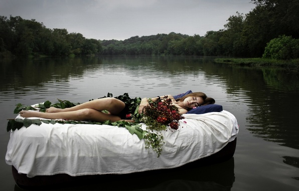 Picture girl, flowers, lake, the situation