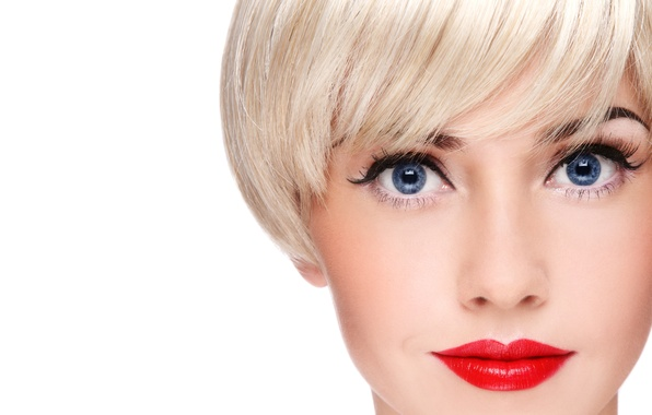 Picture girl, haircut, makeup, blonde, blue eyes, red lips
