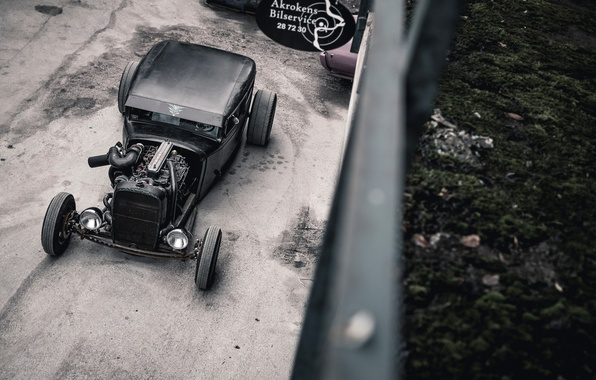 Picture Chevrolet, Hot Rod, 1931, Rat Rod, Diesel, Yard, Sign, Cummins, The roof of the house, …