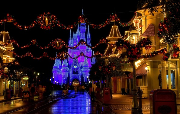 Picture decoration, lights, castle, street, the evening, Christmas, USA, Disneyland, Christmas, street, castle, Disneyland, Christmas, christmas …