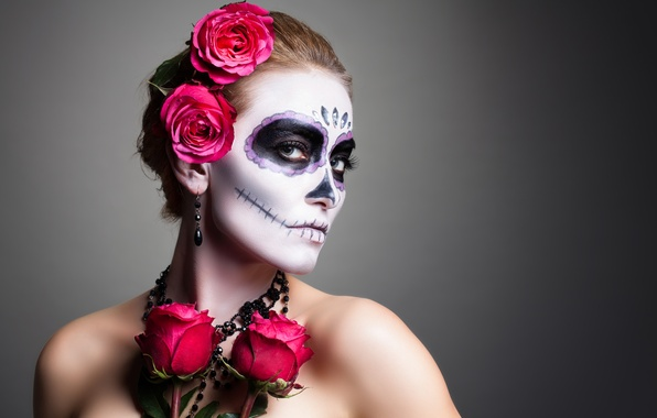 Picture woman, pose, makeup, day of the dead