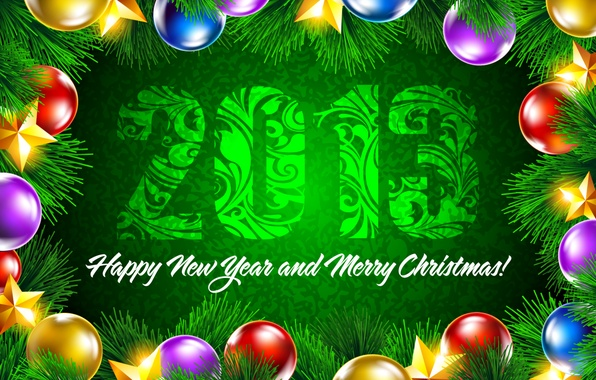 Picture decoration, green, background, balls, star, stars, New year, Happy New Year, colorful, Merry Christmas, spruce …