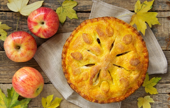 Picture autumn, leaves, apples, food, pie, fruit, dessert, cakes