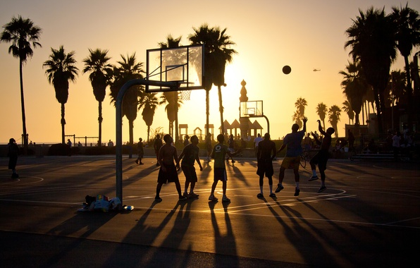 Picture summer, california, basketball, sunset, usa, los angeles, venice beach