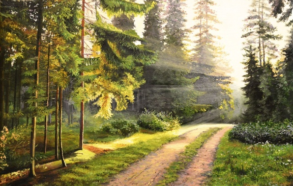 Picture road, forest, rays, landscape, dawn, picture, morning, painting, awakening, Lutsenko