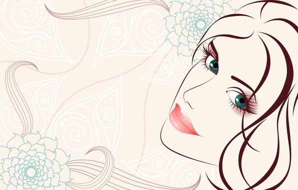 Picture look, girl, flowers, face, hair, vector