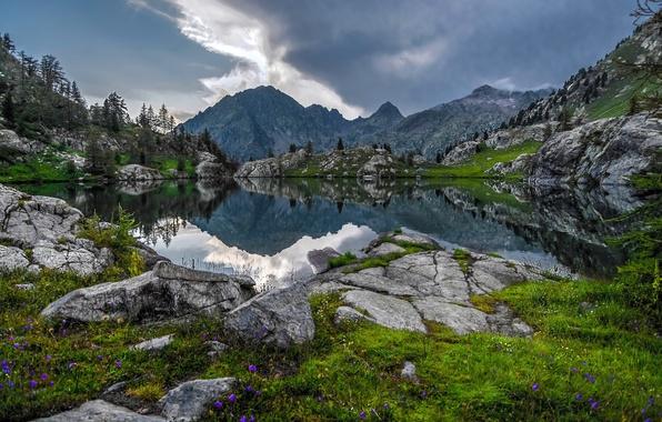 Picture mountains, lake, reflection, France, Alps, France, Alps, The Mercantour national Park, Mercantour National Park