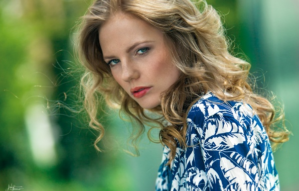Picture summer, eyes, look, girl, face, background, hair, makeup, lipstick, lips