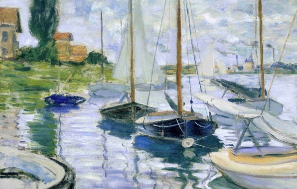 Picture landscape, house, river, boat, picture, sail, Claude Monet
