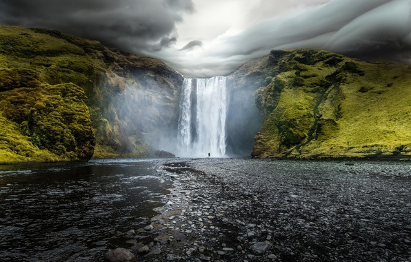 Picture water, clouds, nature, river, rocks, waterfall, Iceland, Iceland, Skogafoss, Skogarfoss