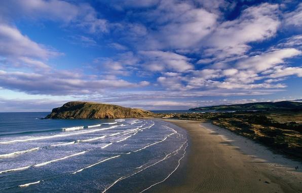 Picture clouds, coast, Wave