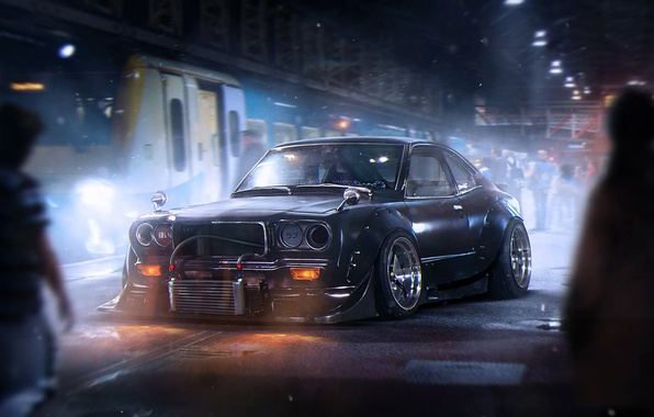 Picture Dark, Mazda, Black, Tuning, Future, Savanna, by Khyzyl Saleem, RX-3
