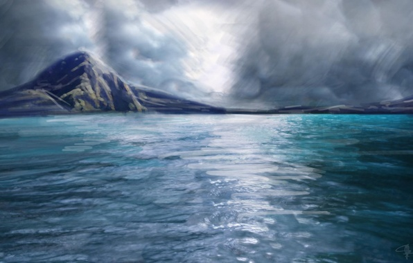 Picture sea, the sky, clouds, reflection, the ocean, landscape, island, art, painting