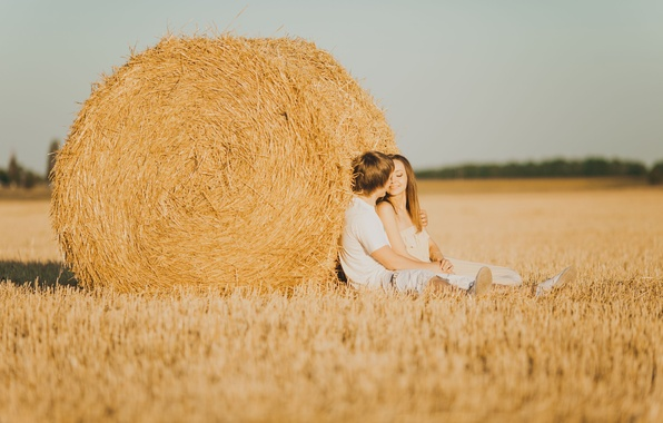 Picture girl, love, nature, smile, background, mood, feelings, hay, pair, male, love, guy, lovers, widescreen, full …