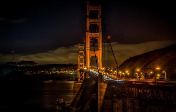 Picture night, bridge, lights, Golden gate, San Francisco