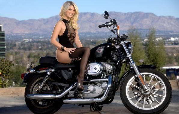 Picture smile, blonde, sexy, smile, blonde, jana jordan, motorcycle.