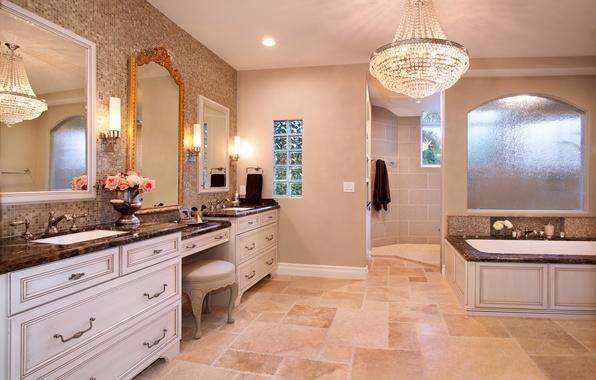 wallpaper mirror chandelier interior bathroom design. Black Bedroom Furniture Sets. Home Design Ideas