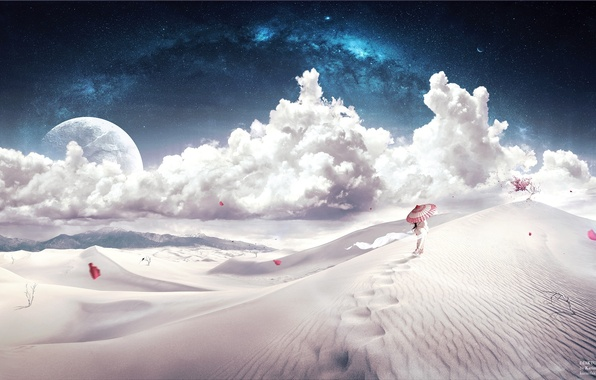 Picture girl, clouds, the dunes, the way, tree, the wind, desert, stars, umbrella, petals, desktopography