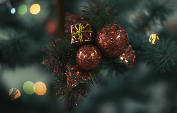 Picture gift, balls, red, decoration, Christmas