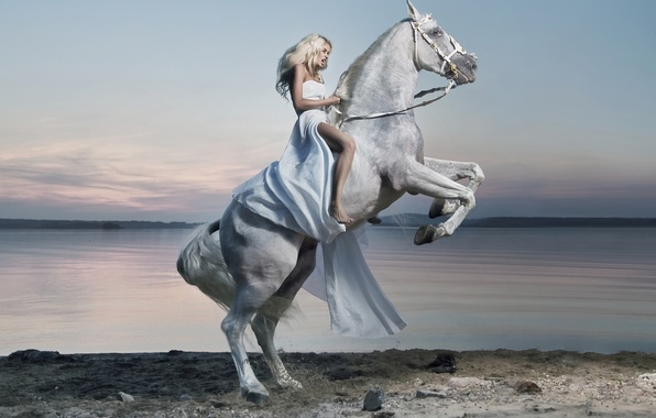 Picture girl, lake, horse, dress, rider, rider