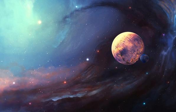Picture space, stars, nebula, planet, satellite, art