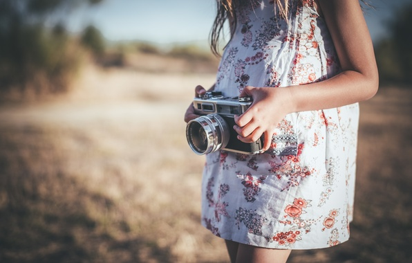 Picture girl, background, camera