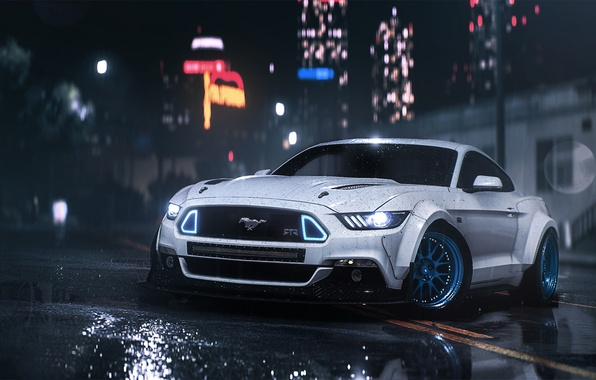 Picture Mustang, Ford, Car, Front, Night, RTR, Rain, 2016, Musle