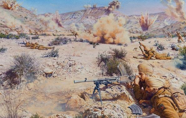 Picture sand, stones, war, figure, explosions, battle, art, soldiers, Africa, shots, troops, guns, British, mortar, line …