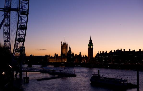 Picture river, ship, London, wheel, london, big ben, Ferris