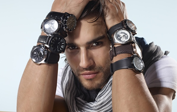 Picture white, look, background, dark, watch, portrait, hands, scarf, eyebrows, male, beautiful, brunette, dark