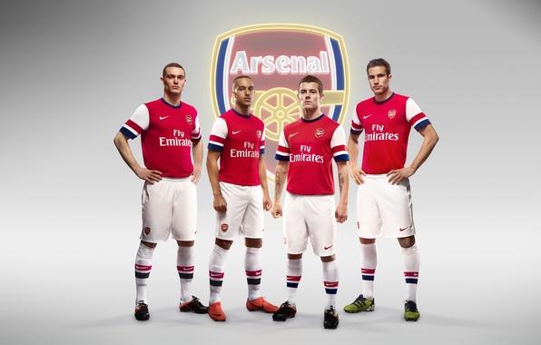 Picture background, logo, emblem, Arsenal, players, Arsenal, Football Club, The Gunners, Robin van Persie, Theo Walcott, …