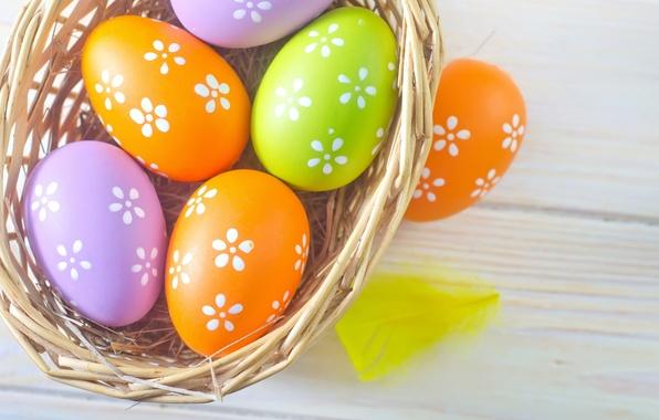 Photo wallpaper basket, colored, eggs, spring, Easter, Easter, eggs