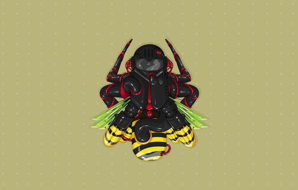 Photo wallpaper bee, fly, minimalism, vector