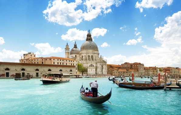 Picture sea, the sky, clouds, the city, people, boats, Italy, Venice, Cathedral, architecture, Italy, gondola, Venice, …