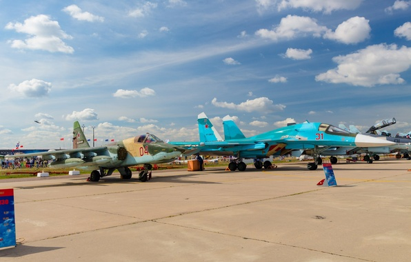 Picture Fighter, BBC, Bomber, Military, Russia, The plane, Dry, Su-34, Su-25, Attack, MAX, 2015, MAKS