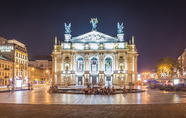 Picture the evening, lights, fountain, Ukraine, street, Lions, Lviv theatre of Opera and ballet