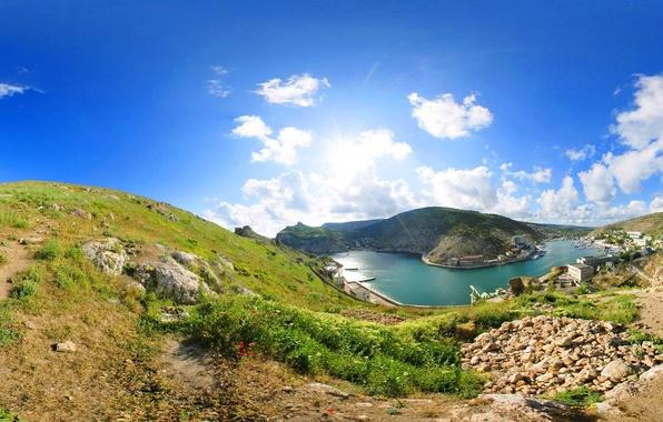 Picture sea, the sky, grass, clouds, nature, stones, home, Bay, Ukraine, Crimea, Balaclava
