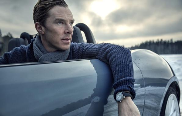 Picture machine, watch, scarf, actor, Benedict Cumberbatch, Benedict Cumberbatch