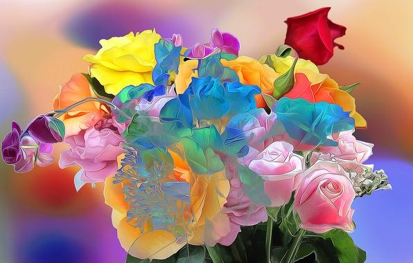 Picture line, flowers, paint, rose, bouquet, petals