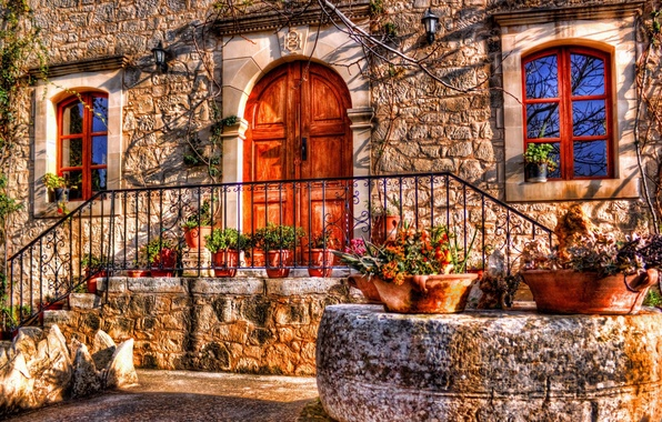 Picture flowers, house, the door, window, hdr, porch, facade