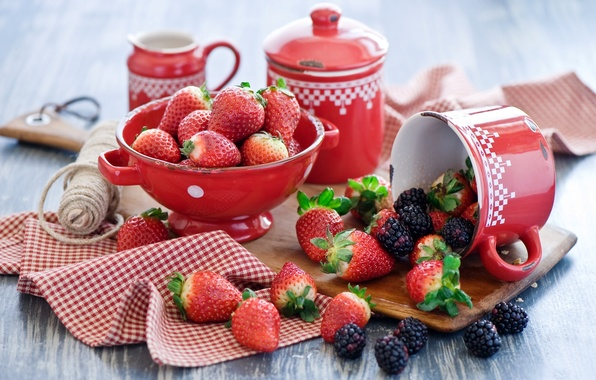 Picture summer, berries, strawberry, dishes, BlackBerry